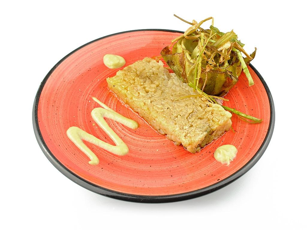 Alcachofa con risotto de hongos-0